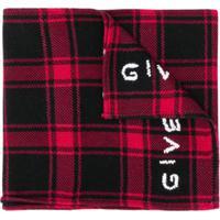 Givenchy Echarpe Xadrez Com Logo - Vermelho