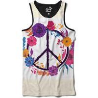 Camiseta Regata Long Beach Simbolo Da Paz Com Flores Sublimada - Masculino-Branco
