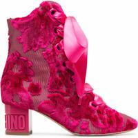 Moschino Bota De Jacquard Com Cadarço E Padronagem - Rosa