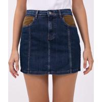 Saia Jeans Com Detalhe No Bolso