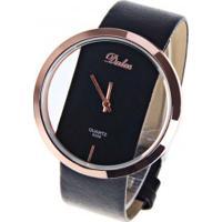 Relógio Feminino Dalas Quartzo Pulseira Couro Pu - Preto