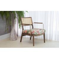 Poltrona Palhinha Moderna Lavanda - Aço Dourado Verniz Capuccino Tec.1860 Floral 63,5X64X78 Cm