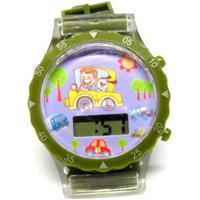 Relógio Infantil Prorider Verde Com Estampa De Carrinho