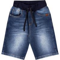 Bermuda Jeans Infantil Boca Grande Masculina - Masculino-Azul