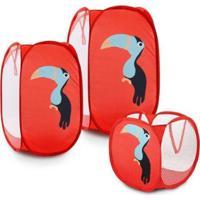 Conjunto Infantil Jacki Design Cesto Organizador Lifestyle Feminina - Feminino-Vermelho