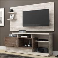 Rack Com Painel Para Tv 47 Polegadas Camaçari Champanhe E Chocolate 156 Cm