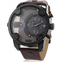 Relógio Cagarny 6819 Masculino Pulseira De Couro - Marrom Escuro