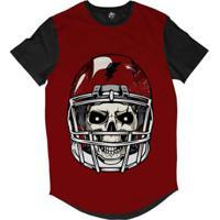 Camiseta Longline Bsc Caveira De Capacete Futebol Americano Sublimada Masculina - Masculino-Vermelho