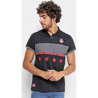 Camisa Polo Ecko Estampada Manga Curta Masculina - Masculino-Preto