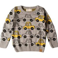 Suéter Tricô Menino Carrinhos Amarelos Mini Lord