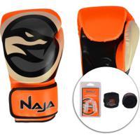 Kit De Boxe Naja: Bandagem + Protetor Bucal + Luvas De Boxe Colors 6P - 14 Oz - Adulto - Laranja/Branco