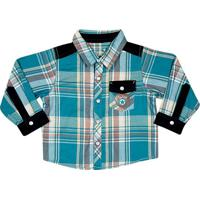 Camisa Xadrez Com Bolso- Azul & Pretatip Top