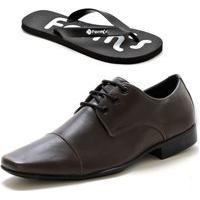 Sapato Social Masculino Couro Amarrar Form'S + Chinelo Marrom