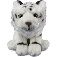 Tigre Branco De Pelúcia Sentado - 20Cm