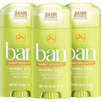 Ban Kit Desodorante Antitranspirante Sólido 73G Trio - Sweet Simplicity