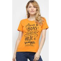 Camiseta Coca-Cola Amor & Boas Energias Feminina - Feminino-Laranja Escuro