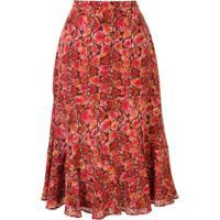 Altuzarra Clementine Snakeskin Print Midi Skirt - Vermelho
