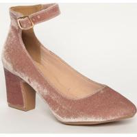 Sapato Tradicional Aveludado Com Fivela - Rosa Claromya Haas