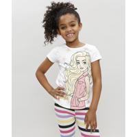 Blusa Infantil Barbie Manga Curta Branca
