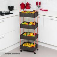 Fruteira Decorativa- Marrom & Cobre- 94X35X22,5Cm