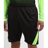 Short Masculino Esporte Ace Futebol Com Recortes E Bolsos Cós Com Elástico Preto