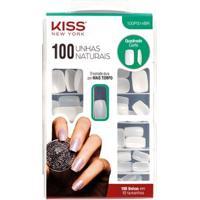 Unhas Postiças Kiss Ny 100 Unhas Naturais Quadrado Curto 1 Un - Feminino-Incolor