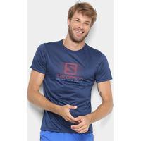 Camiseta Salomon Running Ss Masculina - Masculino-Azul