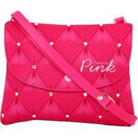 Bolsa Infantil Princesa Pink Estampa Matelassê Strass Tipo Carteira Rosa