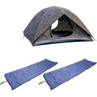 Kit Barraca De Camping Camuflada Iglu Amazon 4P + 2 Colchonetes Camp Mat Nautika - Unissex