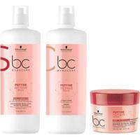 Kit Shampoo + Condicionador+ Máscara Schwarzkopf Bc Peptide Repair Rescue - Unissex-Incolor
