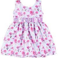 Vestido Infantil Para Menina - Verde/Lilás