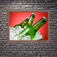 Quadro Decorativo Garagem Balde De Cerveja Gelada Madeira - Grande