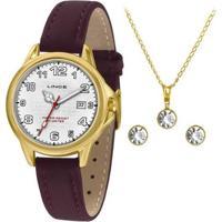 Kit Relógio Lince Feminino Urban Dourado Lrch104L-Kw60B2Wx - Feminino-Dourado