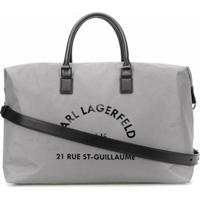 Karl Lagerfeld Bolsa Tote Grande Com Estampa Address - Prateado