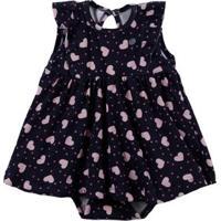 Vestido Infantil Para Bebê Menina - Azul Marinho