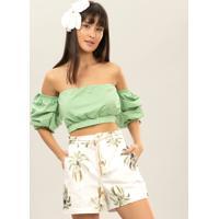 Blusa Cropped Ombro A Ombro Verde Inspire - Lez A Lez