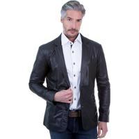 Blazer De Couro Javali Slim 850 Preto