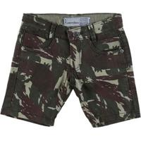 Bermuda Jeans Infantil Para Menino Camuflada - Verde