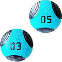 Kit 2 Medicine Ball Liveup Pro 3 E 5 Kg Bola De Peso Treino Funcional - Unissex
