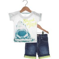 Conjunto 2Pçs Marisol Shark Atack Infantil Bege/Azul