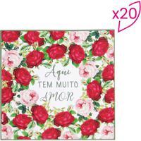 Jogo De Guardanapos Floral- Vermelho & Rosa- 20 Folhcromus