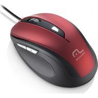 Mouse Multilaser Com Fio 1600Dpi Usb 6 Botões Preto E Vermel
