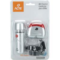 Kit Farol E Lanterna Para Bike Acte Sports A10 - Prata