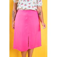 Saia Fenda Frontal Charlotte Pink Plus Size