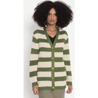 Casaco Listrado Em Tricô Com Bordados - Verde & Bege Clawool Line