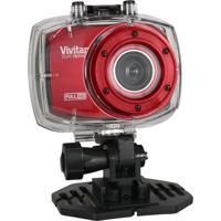 Câmera Filmadora Vivitar De Açáo Full Hd Com Caixa Estanque E Acessórios Vermelha - Tricae