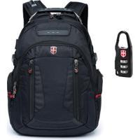 Mochila Notebook Encaixe Fone Swissport - Unissex-Preto