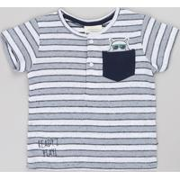 Camiseta Infantil Listrada Com Bolso Gola Portuguesa Manga Curta Cinza Mescla Claro