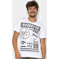 Camiseta Kohmar Estampa Brooklyn Masculina - Masculino-Branco