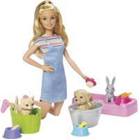 Boneca Barbie Banho De Cachorrinhos Azul E Rosa